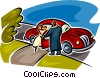 man helping a woman out of a car Vector Clipart illustration