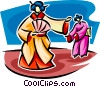 Vector Clip Art image  of a Japanese woman in a kimono