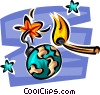 Vector Clipart illustration  of a globe as a time bomb