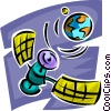 satellite orbiting the globe Vector Clipart illustration