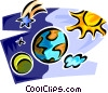 Vector Clip Art graphic  of a planetary bodies orbiting the
