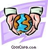 Vector Clipart graphic  of a the earth is in good hands