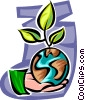 Hand with planet earth and plant Vector Clipart illustration