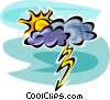 Vector Clipart graphic  of a Clouds and Lightning