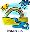 Vector Clip Art graphic  of a Rainbows