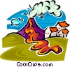 Vector Clipart illustration  of a volcano erupting
