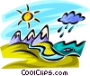 Vector Clipart image  of a Mountain range with rain