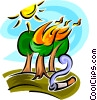 Vector Clip Art image  of a Forest Fires