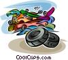 Wheels and Tires Vector Clipart illustration