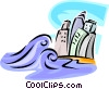Vector Clipart image  of a Tidal Waves
