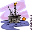 Vector Clipart graphic  of a Offshore Drilling Platforms