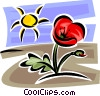 Vector Clip Art graphic  of a Tulip and sunshine