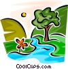Mountain creek with trees Vector Clipart picture