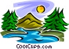 Stream and mountains Vector Clipart illustration