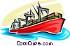 Vector Clipart graphic  of a Ships Carrying Cargo and