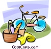 Vector Clip Art picture  of a Bicycle and picnic basket