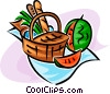 picnic basket and watermelon Vector Clip Art image