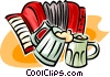 Vector Clip Art image  of an accordion and mugs of beer