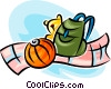 knapsack, stuffed animal and a ball Vector Clipart illustration