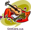 guitar, blanket and some flowers Vector Clipart illustration