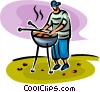 Vector Clip Art picture  of a person cooking on the barbecue
