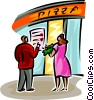 couple on a date going into a pizza restaurant Vector Clip Art image