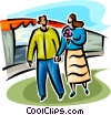 Vector Clip Art graphic  of a couple on a date