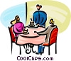 Vector Clip Art graphic  of a waitress bringing coffee to a couple