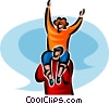 Vector Clipart graphic  of a woman getting a piggyback ride