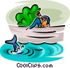 Vector Clip Art graphic  of a father and son looking at a