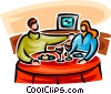 Vector Clip Art picture  of a couple eating at a restaurant
