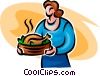 Woman with roast turkey Vector Clipart image