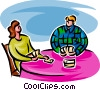 Vector Clipart image  of a couple playing cards