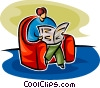 woman sitting in a chair reading the paper Vector Clipart graphic