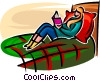 Vector Clipart picture  of a girl in her bedroom reading