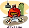 Vector Clip Art picture  of a person writing a valentine