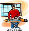 man ironing Vector Clipart graphic