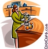 Vector Clip Art graphic  of a woman pouring a glass of juice