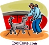 Vector Clipart image  of a woman looking after a dog