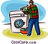 person doing laundry Vector Clipart graphic