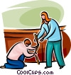 Vector Clip Art image  of a Man helping a woman with her