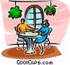 couple sitting at a table Vector Clipart illustration