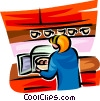 Vector Clipart illustration  of a woman cooking in the microwave