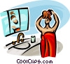 Vector Clipart illustration  of a woman just out of the shower