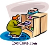 Vector Clipart image  of a woman putting away laundry