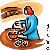Vector Clip Art image  of a woman cooking