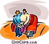 couple reading a paper Vector Clipart illustration
