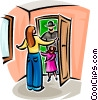 Vector Clip Art image  of a greeting family at the door