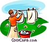 Vector Clipart graphic  of a woman hanging laundry