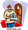 letter delivery, man receiving mail Vector Clipart illustration